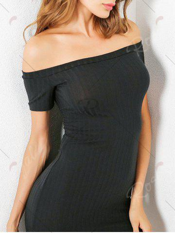 Affordable Knit Bodycon Ribbed Off The Shoulder Dress - S BLACK Mobile