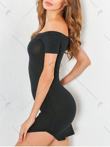 New Knit Bodycon Ribbed Off The Shoulder Dress - S BLACK Mobile