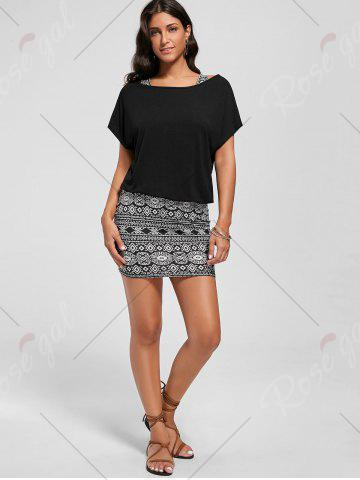 Outfits Graphic Tank Dress with Off The Shoulder T-shirt - 2XL BLACK Mobile