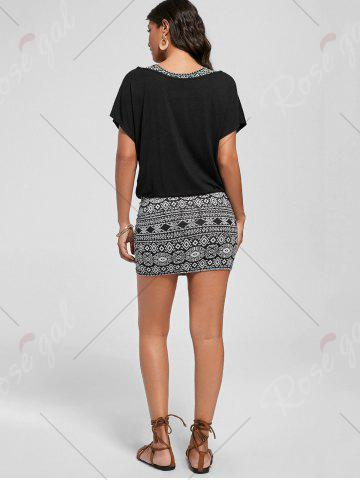 Trendy Graphic Tank Dress with Off The Shoulder T-shirt - 2XL BLACK Mobile