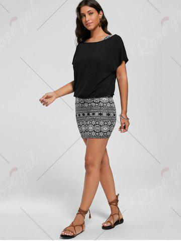 Fancy Graphic Tank Dress with Off The Shoulder T-shirt - 2XL BLACK Mobile