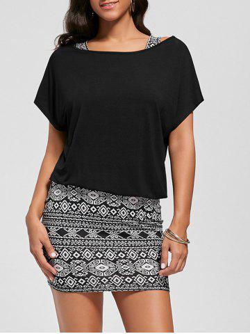 Discount Graphic Tank Dress with Off The Shoulder T-shirt - 2XL BLACK Mobile