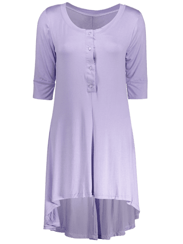 Outfits Scoop Neck Buttoned Tee Flowy Dress With Sleeves - PURPLE L Mobile
