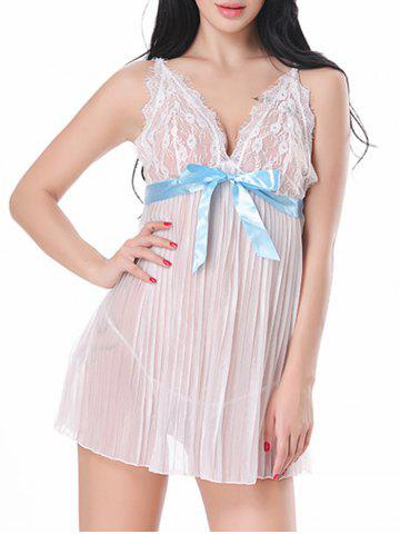 Lace Sheer Cami Lingerie Dress Blanc M