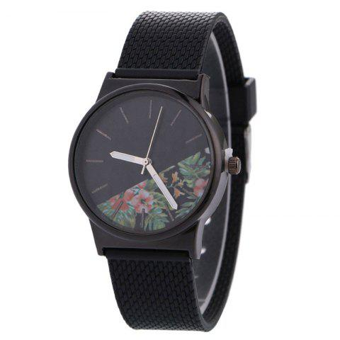 Canvas Strap Flower Face Analog Watch - Black