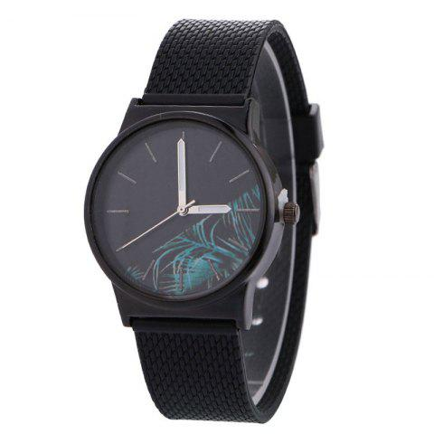 Tropical Plant Face Canvas Strap Quartz Watch - Black