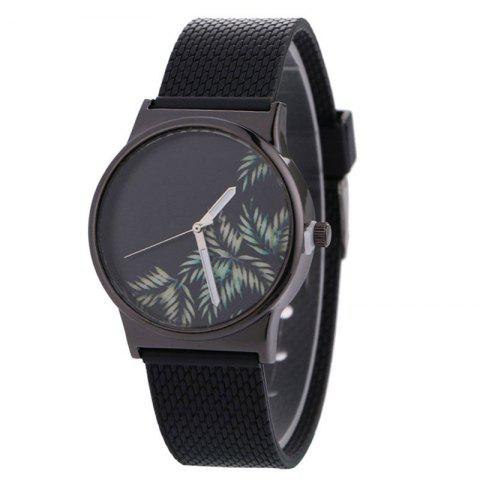 Tropical Leaf Face Canvas Strap Quartz Watch - Black
