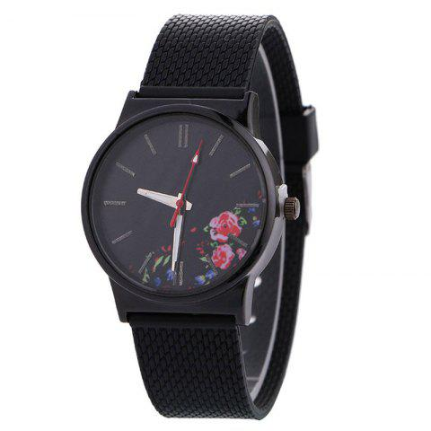 Canvas Strap Quartz Watch With Flower Face - Black