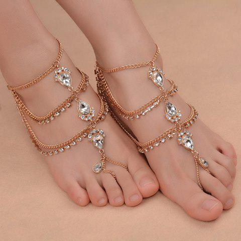 Cheap 1PC Faux Gemstone Teardrop Fringed Slave Anklet