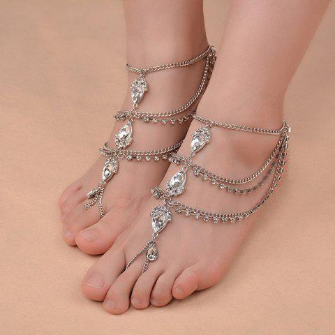 Latest 1PC Faux Gemstone Teardrop Fringed Slave Anklet SILVER