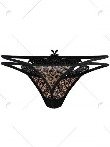 Shops Leopard Dual Strap Lingerie T Back - ONE SIZE COFFEE Mobile