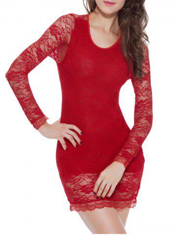 Buy Lace Long Sleeve Babydoll Lingerie Dress - M RED Mobile