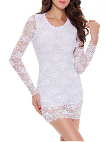 Affordable Lace Long Sleeve Babydoll Lingerie Dress - M WHITE Mobile
