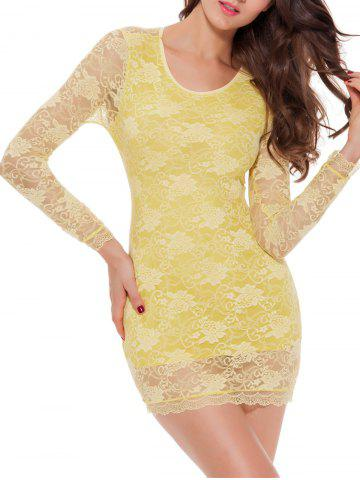 Best Lace Long Sleeve Babydoll Lingerie Dress - M YELLOW Mobile