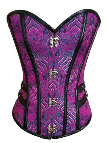 Brocade Lace Up Corset Top Pourpre S