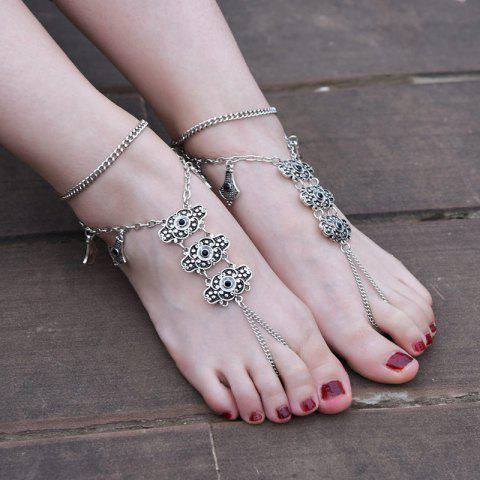 Hot 1PC Alloy Engraved Vintage Slave Anklet - SILVER  Mobile