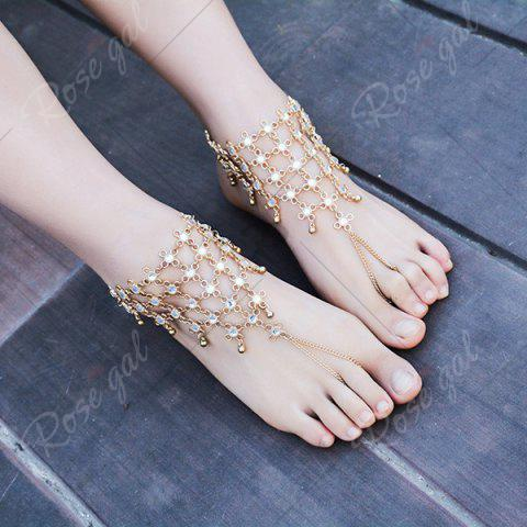 Store 1PC Rhinestoned Chinese Knot Slave Anklet - GOLDEN  Mobile