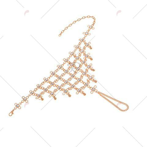 Hot 1PC Rhinestoned Chinese Knot Slave Anklet - GOLDEN  Mobile