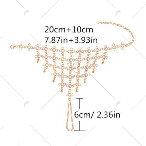 Latest 1PC Rhinestoned Chinese Knot Slave Anklet - GOLDEN  Mobile
