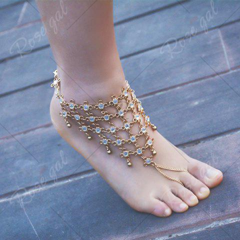 Buy 1PC Rhinestoned Chinese Knot Slave Anklet - GOLDEN  Mobile