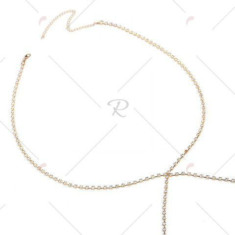 Chic Rhinestone X Shaped Body Chain - GOLDEN  Mobile