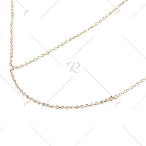 Latest Rhinestone X Shaped Body Chain - GOLDEN  Mobile