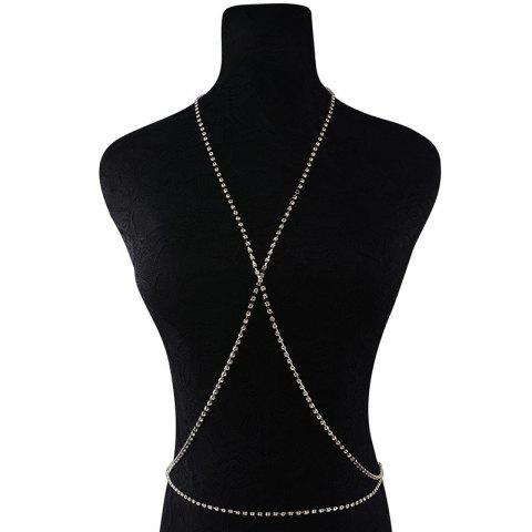 Chic Rhinestone X Shaped Body Chain SILVER