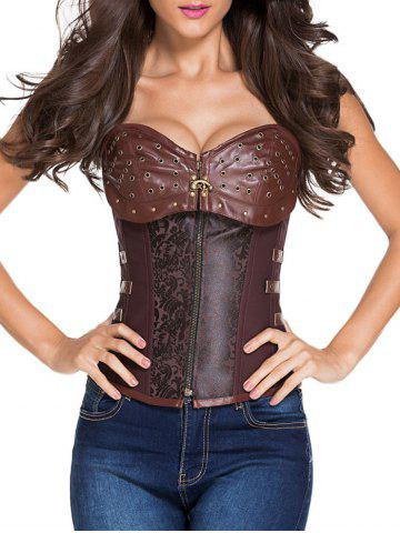 Latest Faux Leather Insert Lace Up Corset Top BROWN S