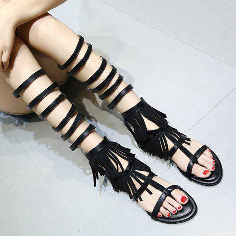 Affordable Buckle Straps Fringe Flat Sandals - 37 BLACK Mobile
