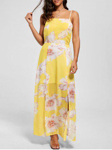 Spaghetti Strap Floral Chiffon Split Beach Maxi Dress - Yellow - Xl