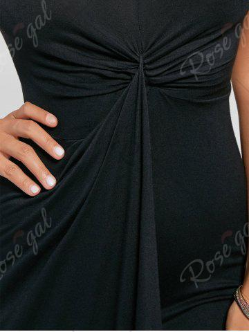 Discount Knotted Asymmetrical Slip Dress - 2XL BLACK Mobile