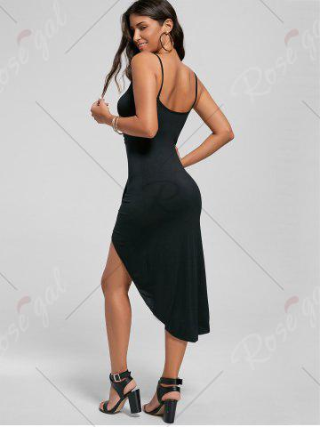 Online Knotted Asymmetrical Slip Dress - 2XL BLACK Mobile