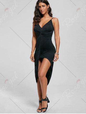 Shop Knotted Asymmetrical Slip Dress - S BLACK Mobile
