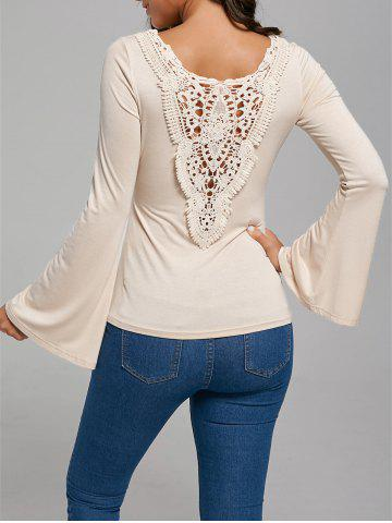 Sale Hollow Out Lace Trim Flare Sleeve T-Shirt APRICOT XL