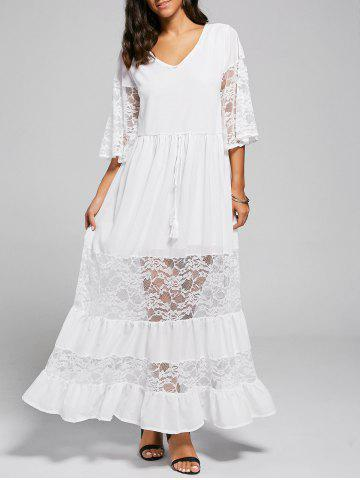 Cheap A Line Lace Trim Maxi Party Dress - XL WHITE Mobile