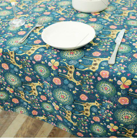 Trendy Bohemian Sika Deer Floral Printed Linen Table Cloth - W55 INCH * L40 INCH COLORFUL Mobile