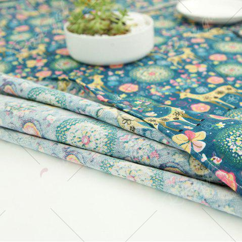 New Bohemian Sika Deer Floral Printed Linen Table Cloth - W55 INCH * L71 INCH COLORFUL Mobile