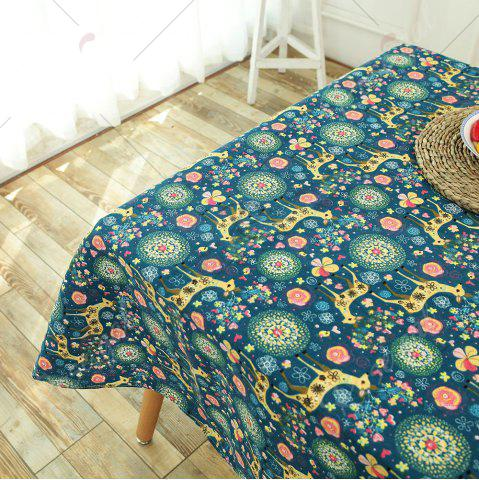 Chic Bohemian Sika Deer Floral Printed Linen Table Cloth - W55 INCH * L71 INCH COLORFUL Mobile