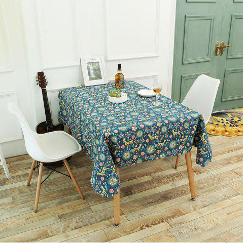 Chic Bohemian Sika Deer Floral Printed Linen Table Cloth COLORFUL W55 INCH * L78 INCH
