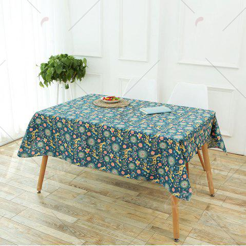 Discount Bohemian Sika Deer Floral Printed Linen Table Cloth - W55 INCH * L78 INCH COLORFUL Mobile