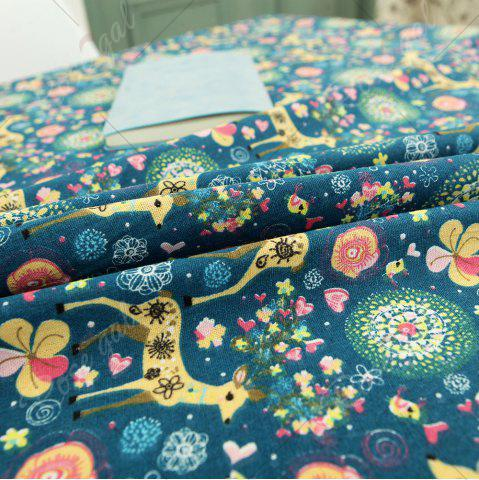 New Bohemian Sika Deer Floral Printed Linen Table Cloth - W55 INCH * L78 INCH COLORFUL Mobile