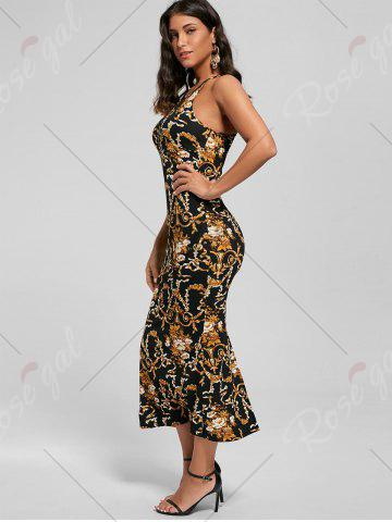 Affordable Slit Printed Maxi Fitted Cocktail Dress - M BLACK Mobile