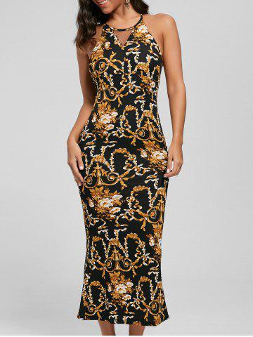 Best Slit Printed Maxi Fitted Cocktail Dress - M BLACK Mobile