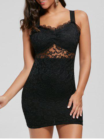 Latest Strappy Bodycon Lace Skin Tight Dress - S BLACK Mobile