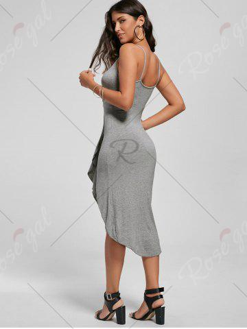 Discount Knotted Asymmetrical Slip Dress - XL GRAY Mobile