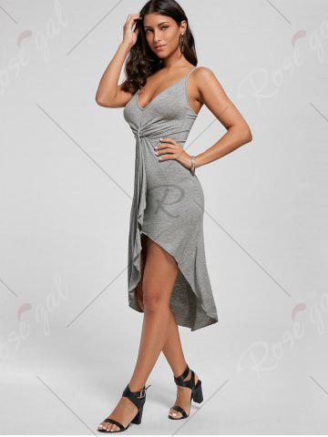 Online Knotted Asymmetrical Slip Dress - XL GRAY Mobile
