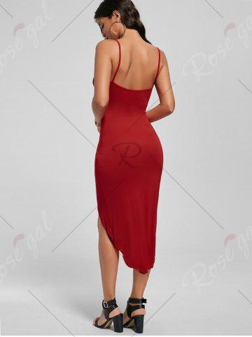 Fashion Knotted Asymmetrical Slip Dress - L RED Mobile