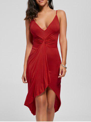 Trendy Knotted Asymmetrical Slip Dress - L RED Mobile