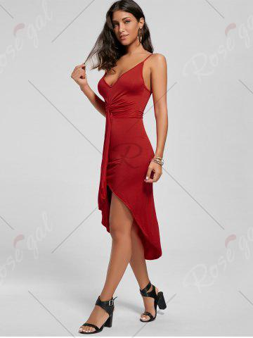 Fashion Knotted Asymmetrical Slip Dress - S RED Mobile