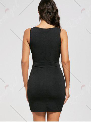Buy Cut Out Lace Up Sleeveless Bodycon Dress - L BLACK Mobile